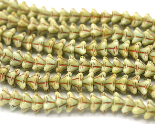 20pc Strand 6x9mm Czech Pressed Glass Bell Flower Beads, Opaque Mint/Vintage Luster
