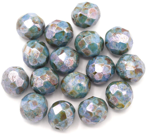 16pc 8mm Czech Fire-Polished Glass Faceted Round Beads, Alabaster/Picasso Blue Luster