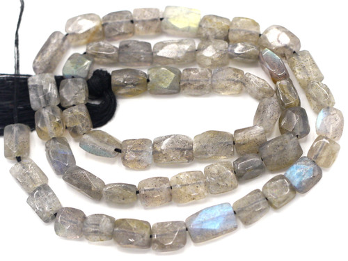"""14"""" Strand Approx. 6-10mm Labradorite Hand-Cut Faceted Flat Rectangle Beads"""
