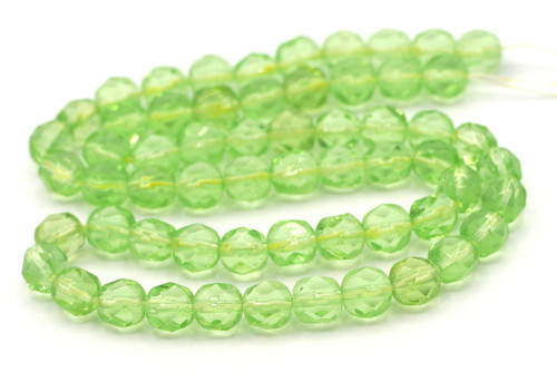 "14"" Strand 6mm Faceted Round Glass Beads, Light Green"