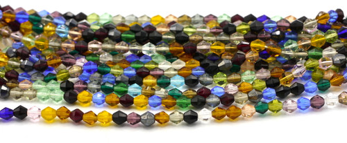 75pc 5mm Czech Fire Polished Glass Bicone Bead, Autumn Sky Mix