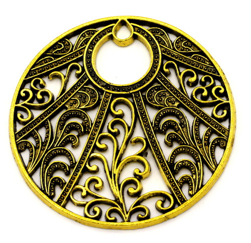49.5mm Intricate Filigree-Style Pendant, Antique Goldtone
