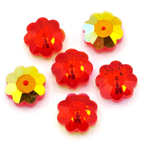 6pc 10mm Crystal Flower Beads, Red AB