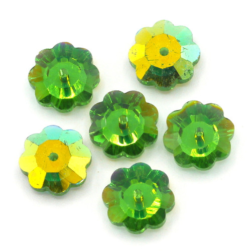 6pc 10mm Crystal Flower Beads, Green AB