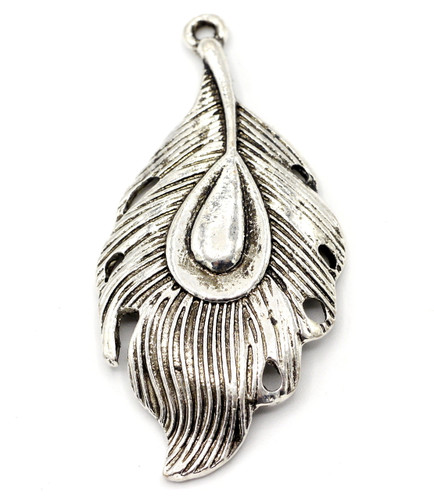 53mm Peacock Feather Pendant, Antique Silvertone