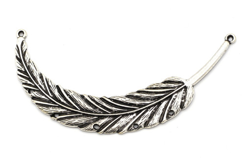 89x18mm Feather Focal Pendant, Antique Silvertone