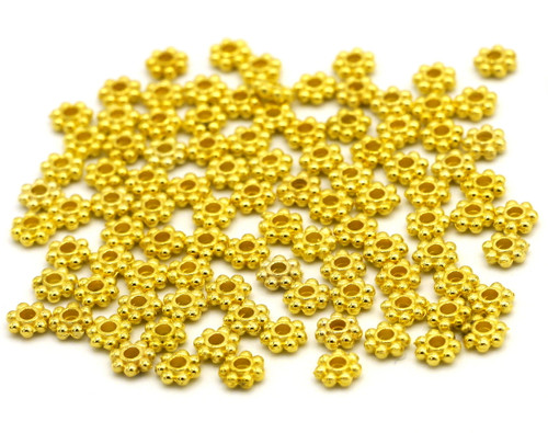 100pc 4mm Daisy Spacer Beads, Goldtone