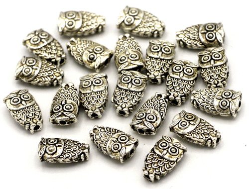 20pc 10mm Owl Spacer Beads, Antique Silvertone