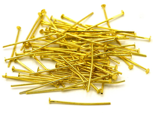 10 Grams 24mm 20 Gauge Steel Headpins, Antique Gold