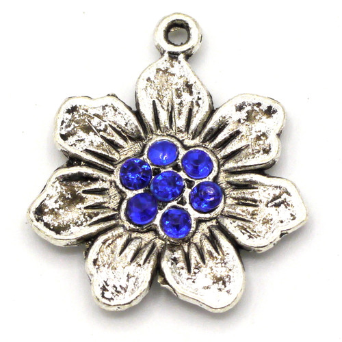 25x22mm Rhinestone Flower Pendant, Antique Silver & Sapphire Blue