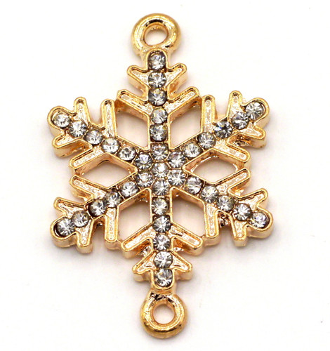 33x21mm Rhinestone Snowflake Pendant Link, Rose Gold Finish