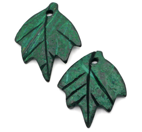 2pc 36mm Carved Coconut Shell Leaf Beads