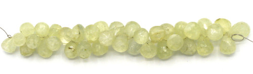 """4"""" Strand 7-10mm Prehnite Faceted Top-Drilled Teardrop Beads"""