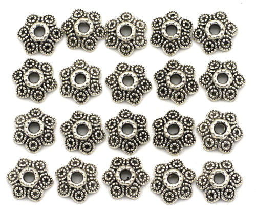 20pc 11mm Dotted 6-Petal Bead Caps, Antique Silvertone