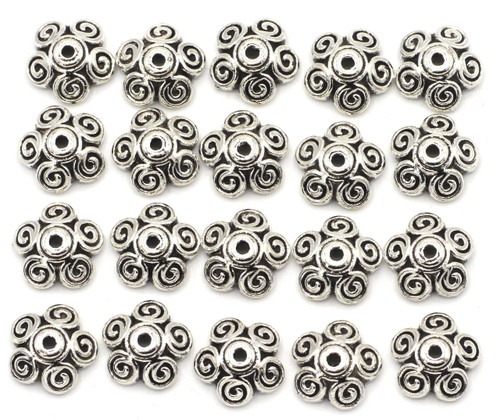 20pc 11mm Swirled 5-Petal Bead Caps, Antique Silvertone