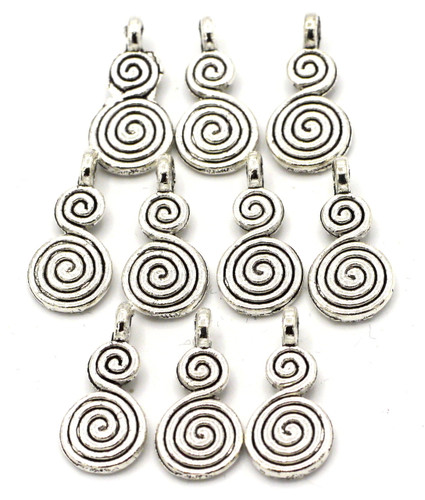 10pc 18x8.5mm Double Swirl Drops, Antique SIlvertone