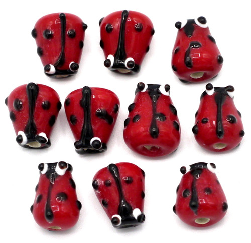10pc Approx 12mm Lampwork Glass Ladybug Beads