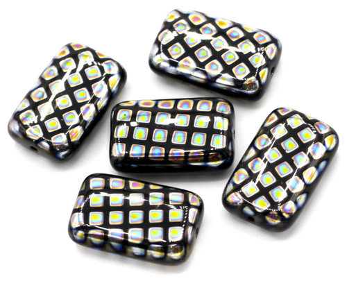 5pc 12x19mm Czech Glass Peacock Beads, Black With Vitrail Grid
