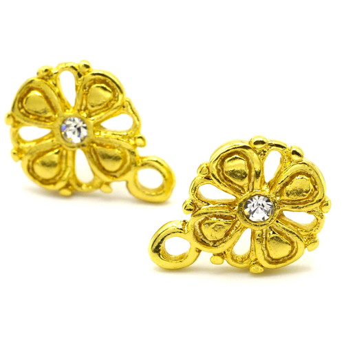 1 Pair 10mm Fancy Rhinestone Earstuds with 4mm Loop, Goldtone