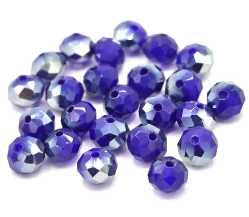 24pc 8x6mm Crystal Rondelle Beads, Sapphire Half-Metallic