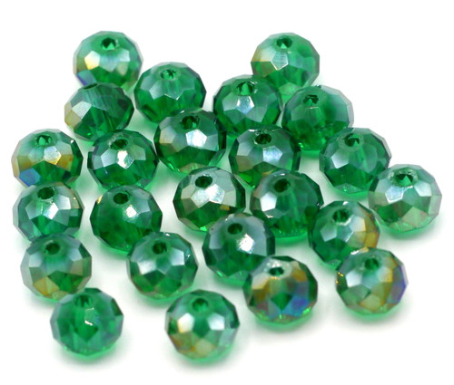 24pc 8x6mm Crystal Rondelle Beads, Emerald Green AB