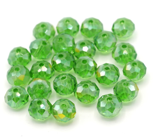 24pc 8x6mm Crystal Rondelle Beads, Summer Green AB