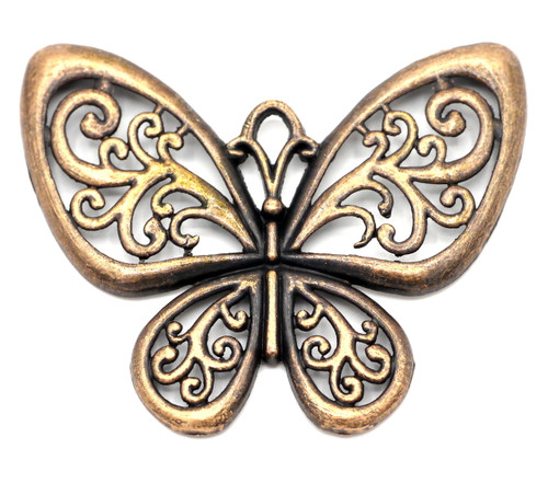 47x57mm Filigree Butterfly Pendant, Antique Copper