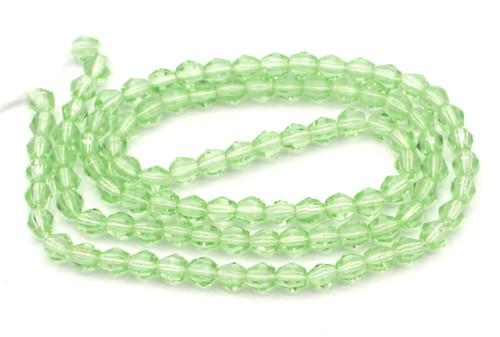 100pc 4mm Czech Glass Fire Polished Bicone Beads, Peridot