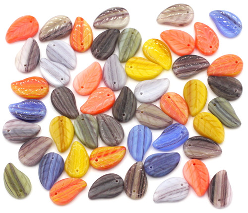 SPECIAL VALUE-- 50pc 14mm Czech Glass Top-Drilled Leaf Beads, Random Mix