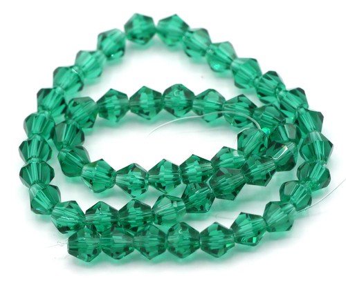 48pc 6mm Crystal Bicone Beads, Teal