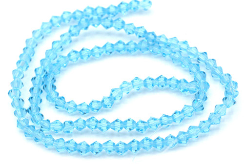 100+pc 4mm Crystal Bicone Beads, Aqua