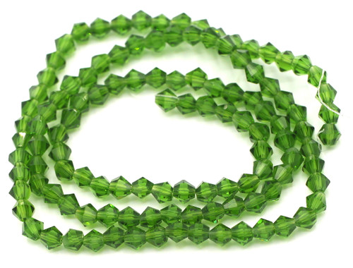 100+pc 4mm Crystal Bicone Beads, Fern