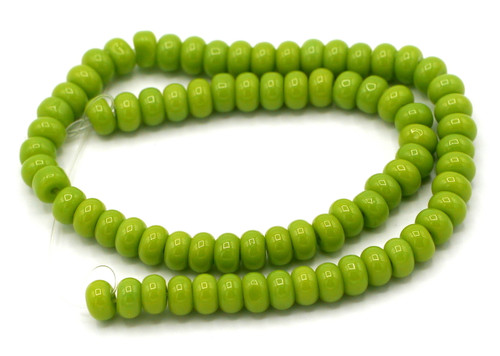"10"" Strand 6x4mm Opaque Glass Rondelle Beads, Olive Green"