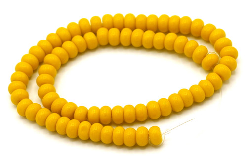 """10"""" Strand 6x4mm Opaque Glass Rondelle Beads, Harvest Gold"""