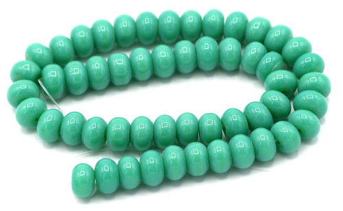 "9.5"" Strand 8x6mm Opaque Glass Rondelle Beads, Turquoise Blue-Green"