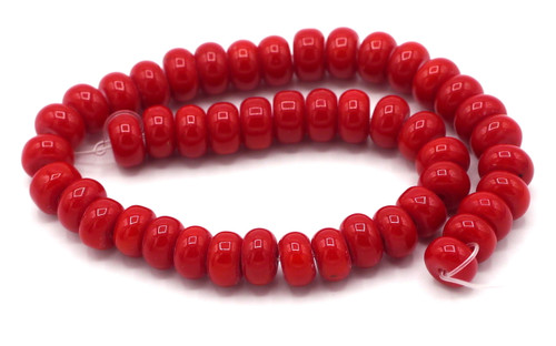 """8"""" Strand 8x6mm Opaque Glass Rondelle Beads, Dark Coral Red"""