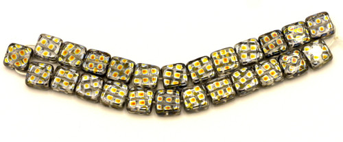 25pc 8mm Czech Glass Peacock Flat Square Beads, Clear w/Marea Diamonds