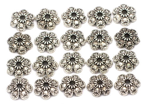 20pc 9mm 6-Petal Bead Cap, Antique Silver