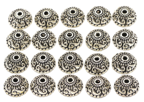 20pc 10.5mm Swirled Round Bead Cap, Antique Silver