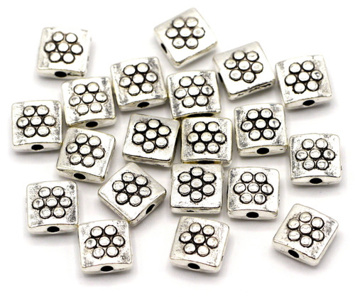 20pc 8mm Flat Square Beads, Antique Silver