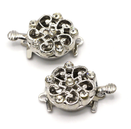 2pc 21x14mm Single-Strand Rhinestone Box Clasp, Silvertone 5-Petal Flower