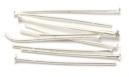 10pc 26mm 20 Gauge Steel Headpins, Silver