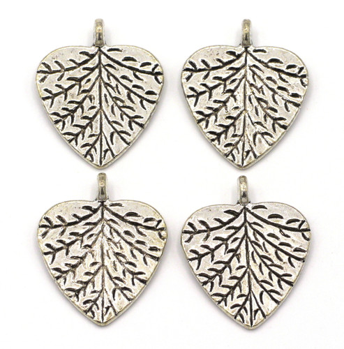 4pc 24mm Leaf Drop, Antique Silver Finish