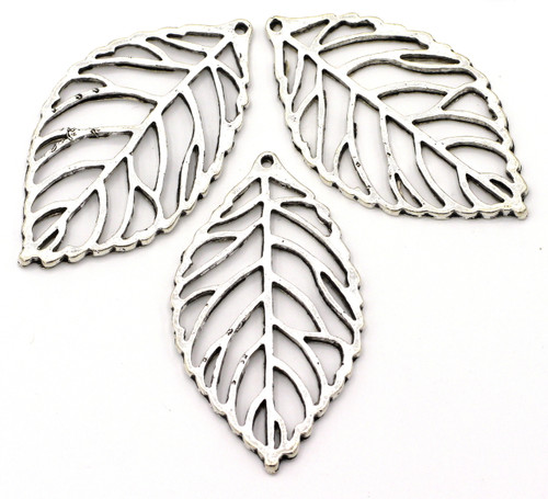 3pc 49mm Cutout Leaf Pendant, Antique Silver Finish