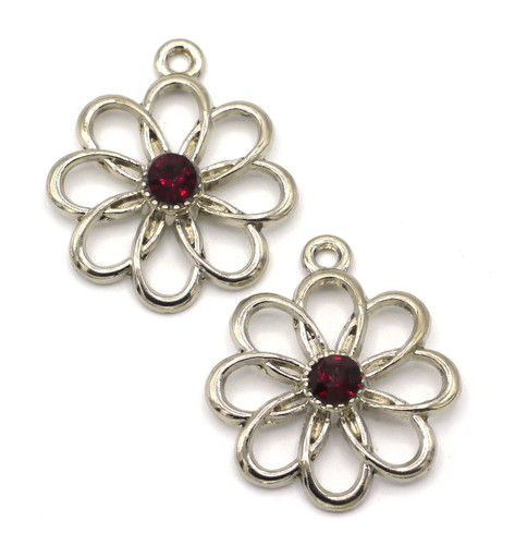 2pc 28mm Cutout Flower Pendant w/Rhinestone, Dark Garnet Red