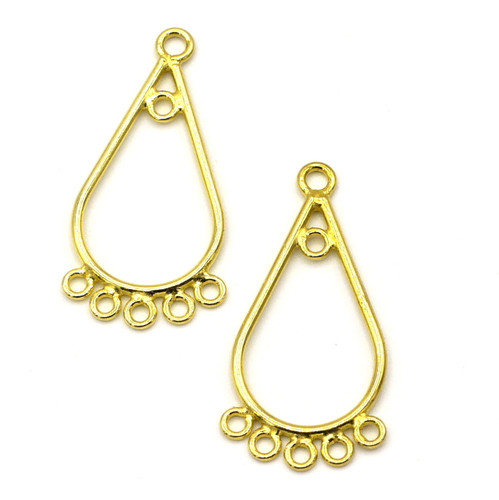 2pc 26mm Vermeil (Gold-Plated Sterling Silver) Teardrop Chandelier Finding