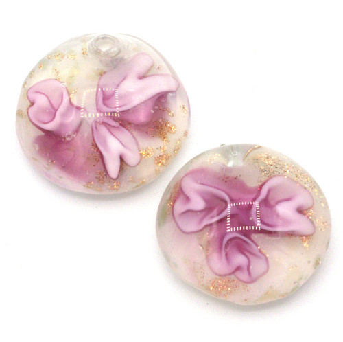 2pc Approx 21mm Top-Drilled Flat Semi-Round Lampwork Glass Drops, Pink Floral