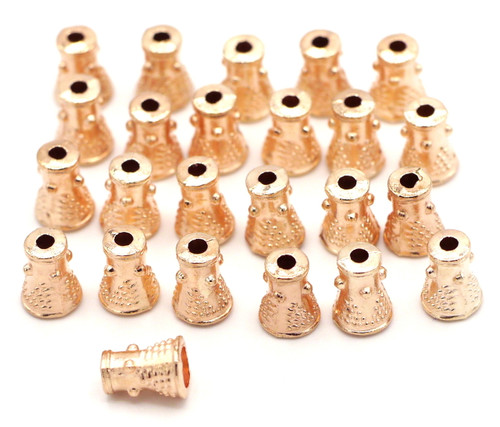 10 Grams 8mm Dotted Cone Bead Cap, Rose Gold Finish