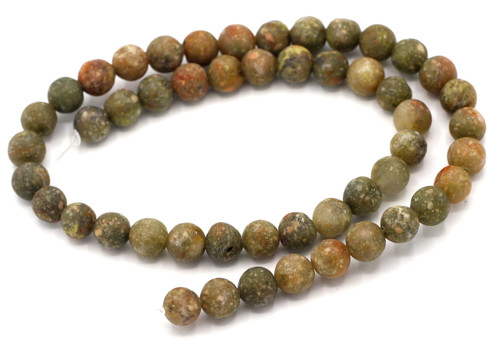 "15"" Strand 8mm Matte Autumn Jasper Round Beads"