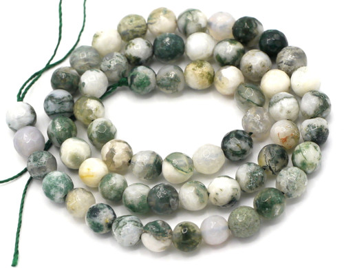 "15"" Strand 6mm Faceted Tree Agate Round Beads"